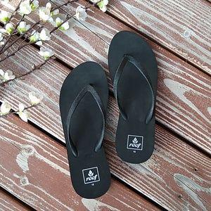0e6bad3f2d2 Black Reef Wedge Flip Flops Size  10